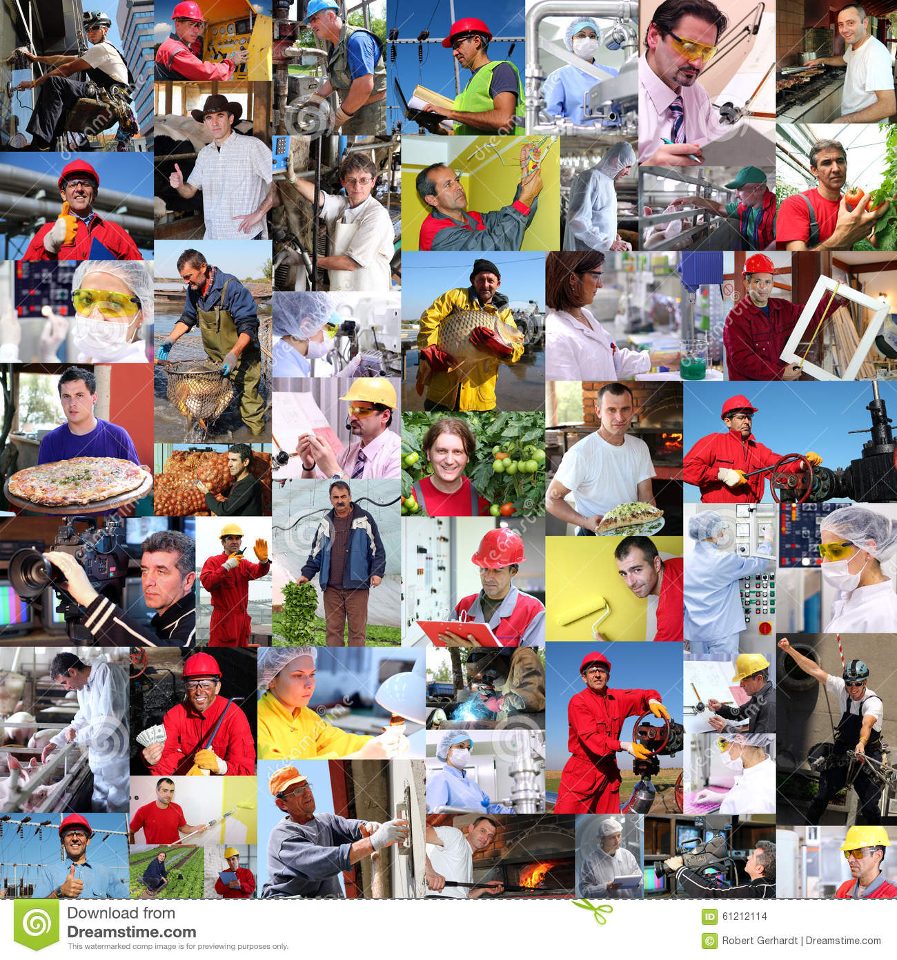 Collage of Diverse People, Workers