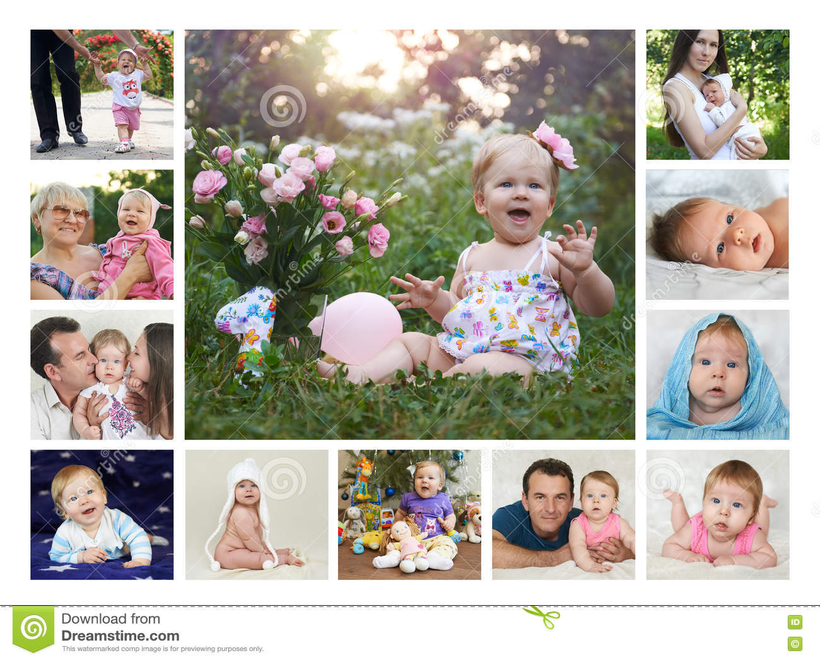 Collage doce meses del primer año del bebé