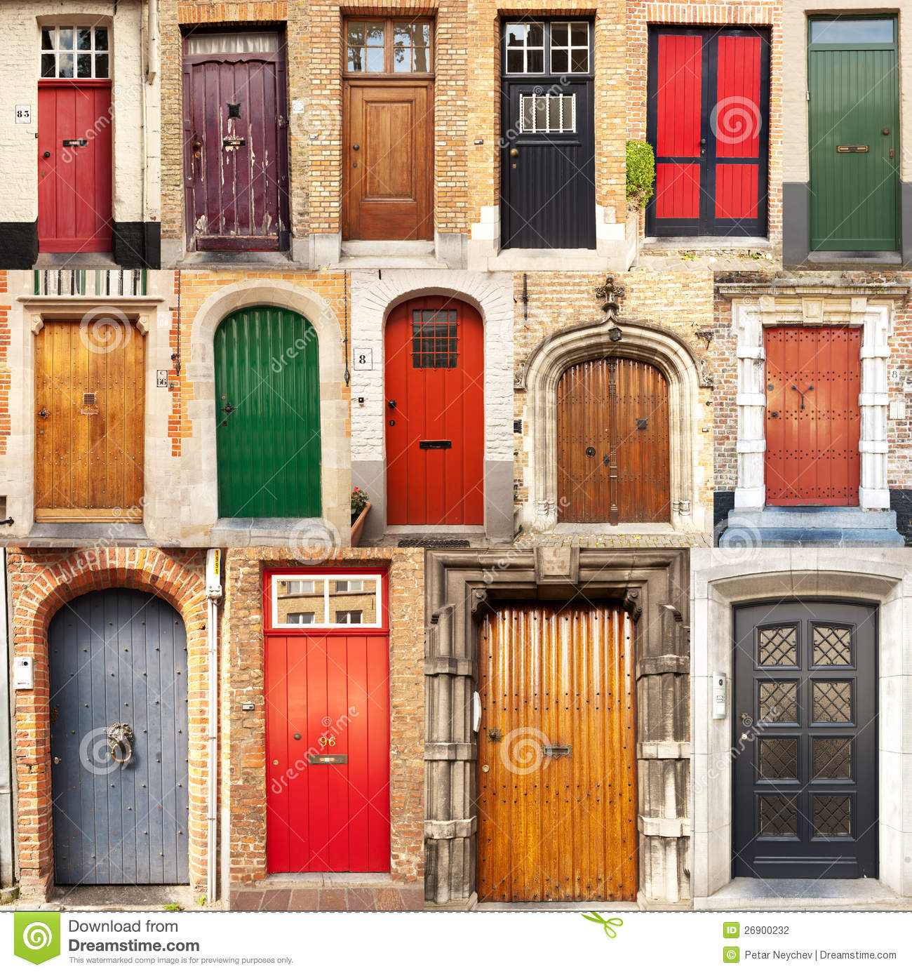 Collage Of Doors From Bruges Belgium Stock Photography