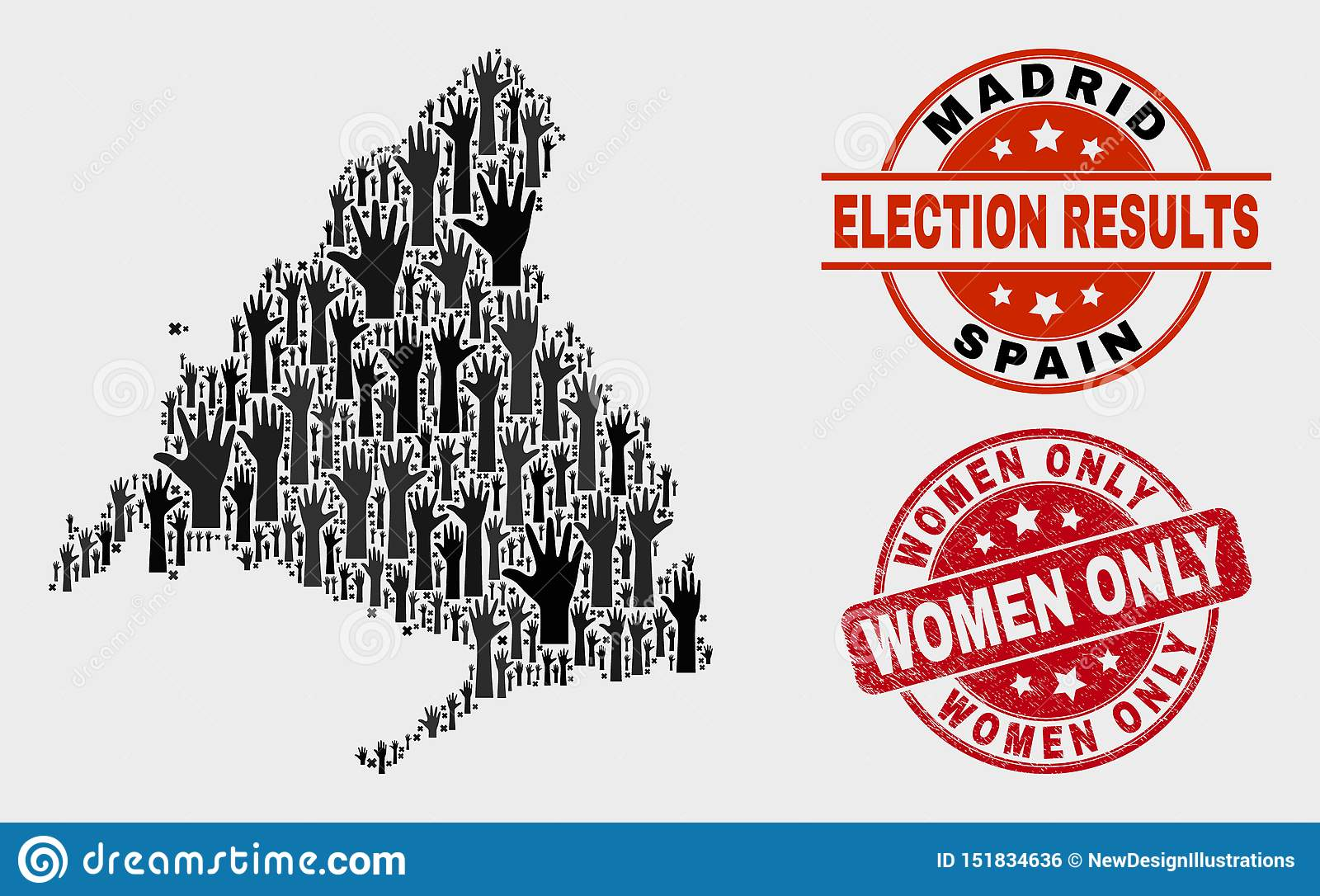 Collage of Electoral Madrid Province Map and Grunge Women Only Stamp Seal
