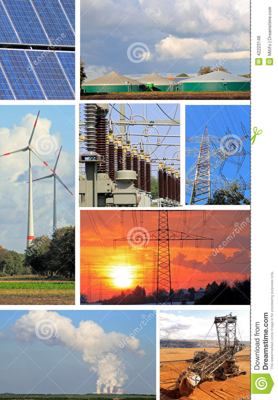 Collage Electrical Energy Power Plant And Power Plant