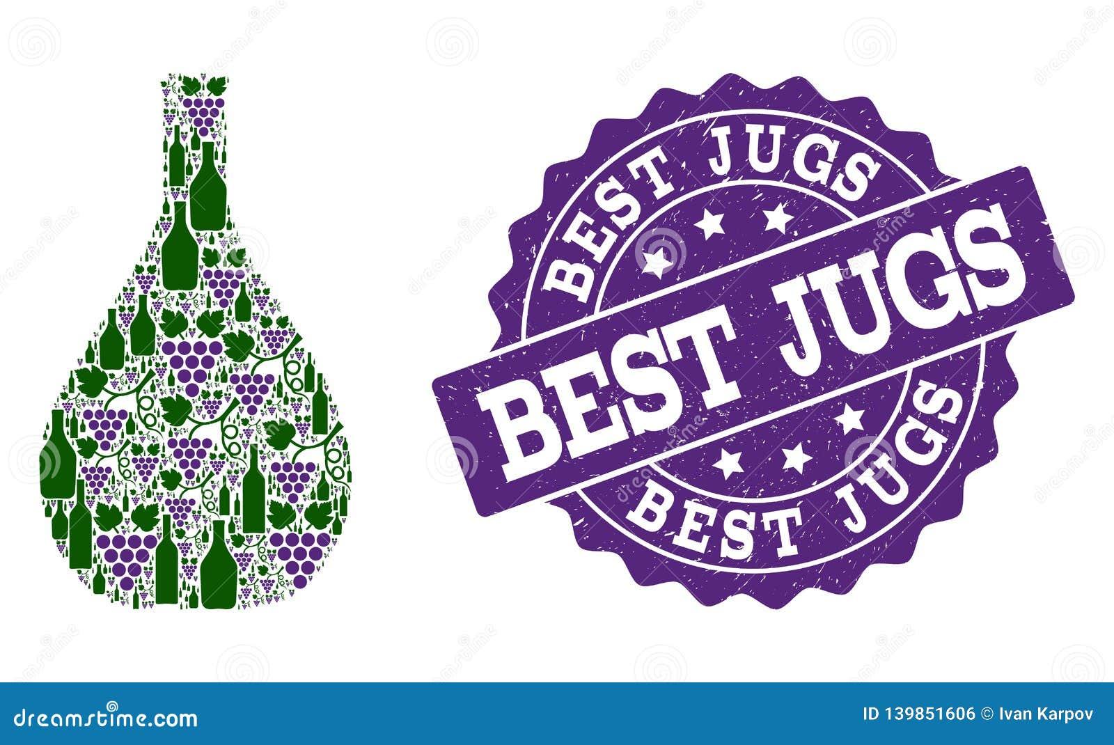 Collage en verre de cruche des bouteilles de vin et du raisin et du timbre de grunge