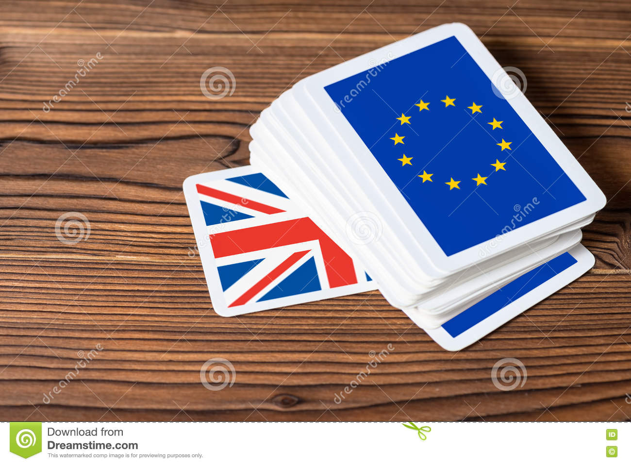 Collage on event Brexit UK EU referendum concept of card game sh