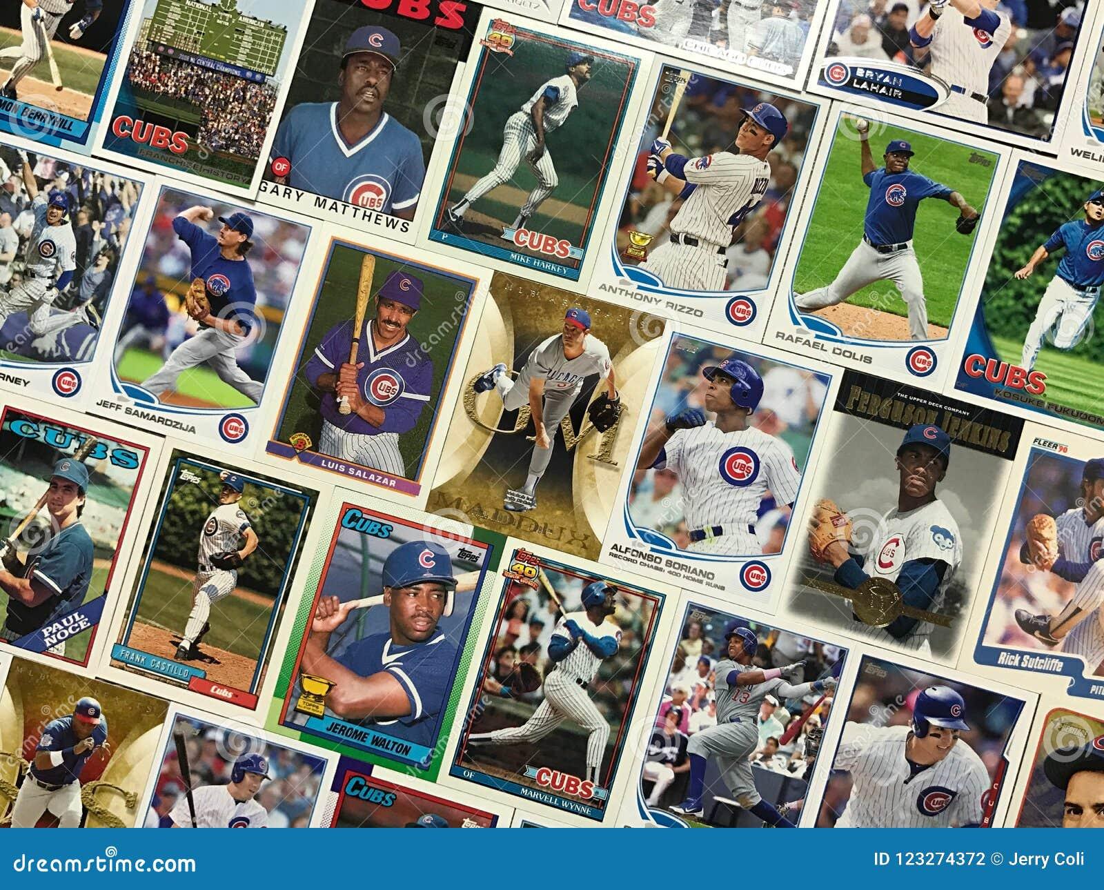 Collage för kort för Chicago Cubsbaseballhandel