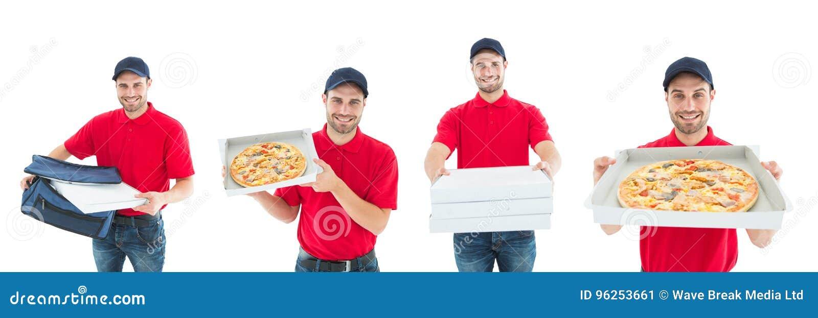 Collage för pizza för leveransman hållande