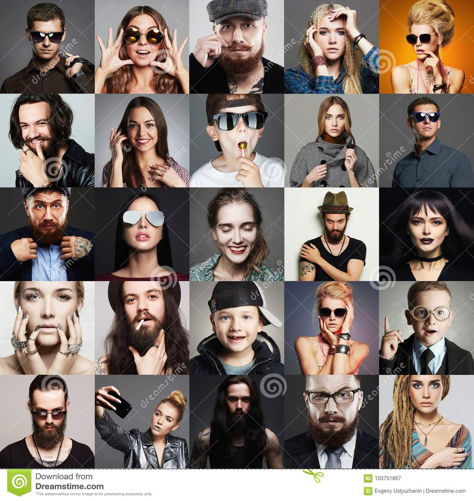Collage för skönhet för Hipsterfolkmode