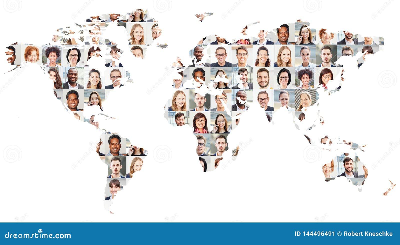 Collage för stående för affärsfolk på världskarta
