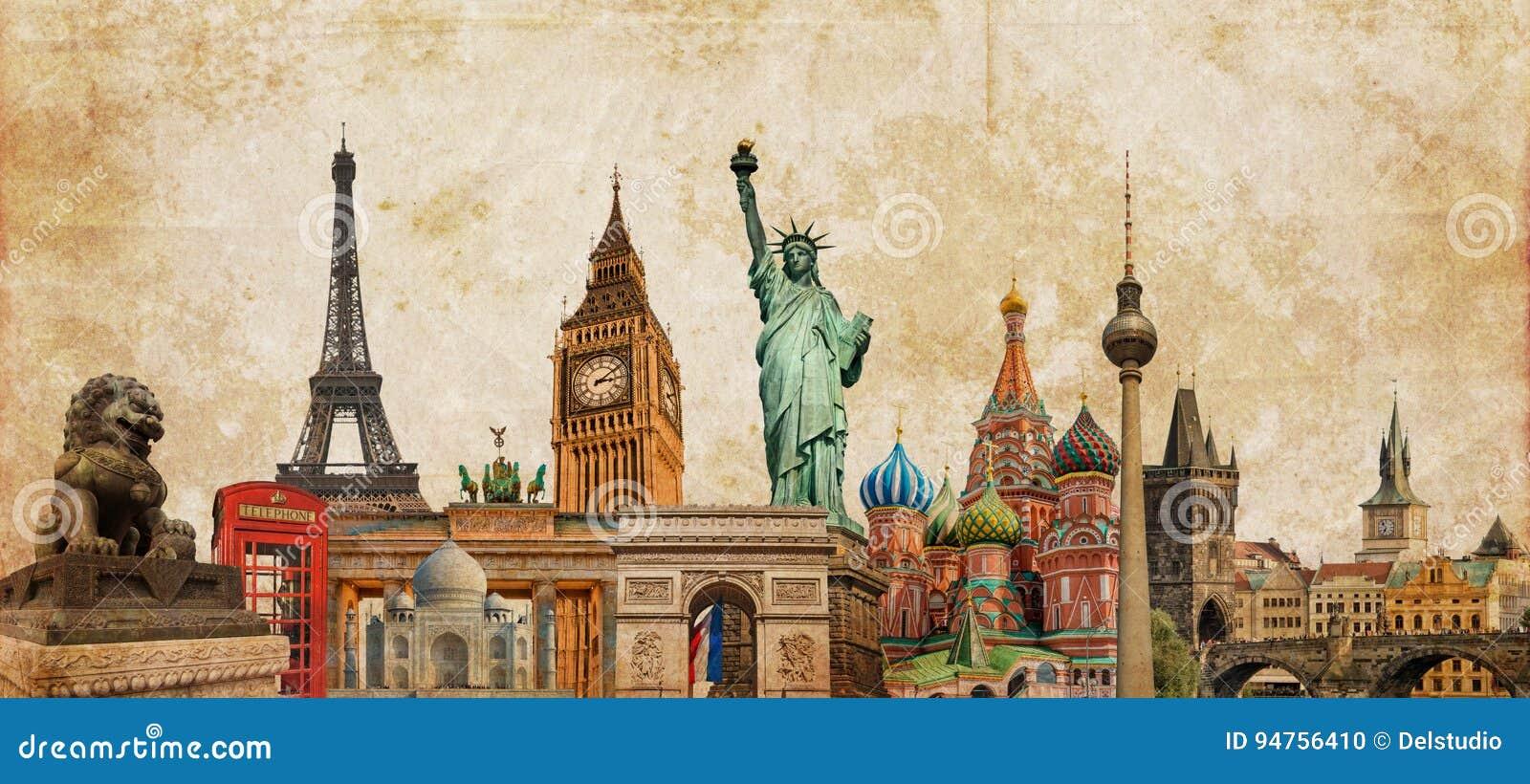 Collage för världsgränsmärkefotoet på tappningtessepia texturerade bakgrund, loppturism och begreppet för studie runt om världen,