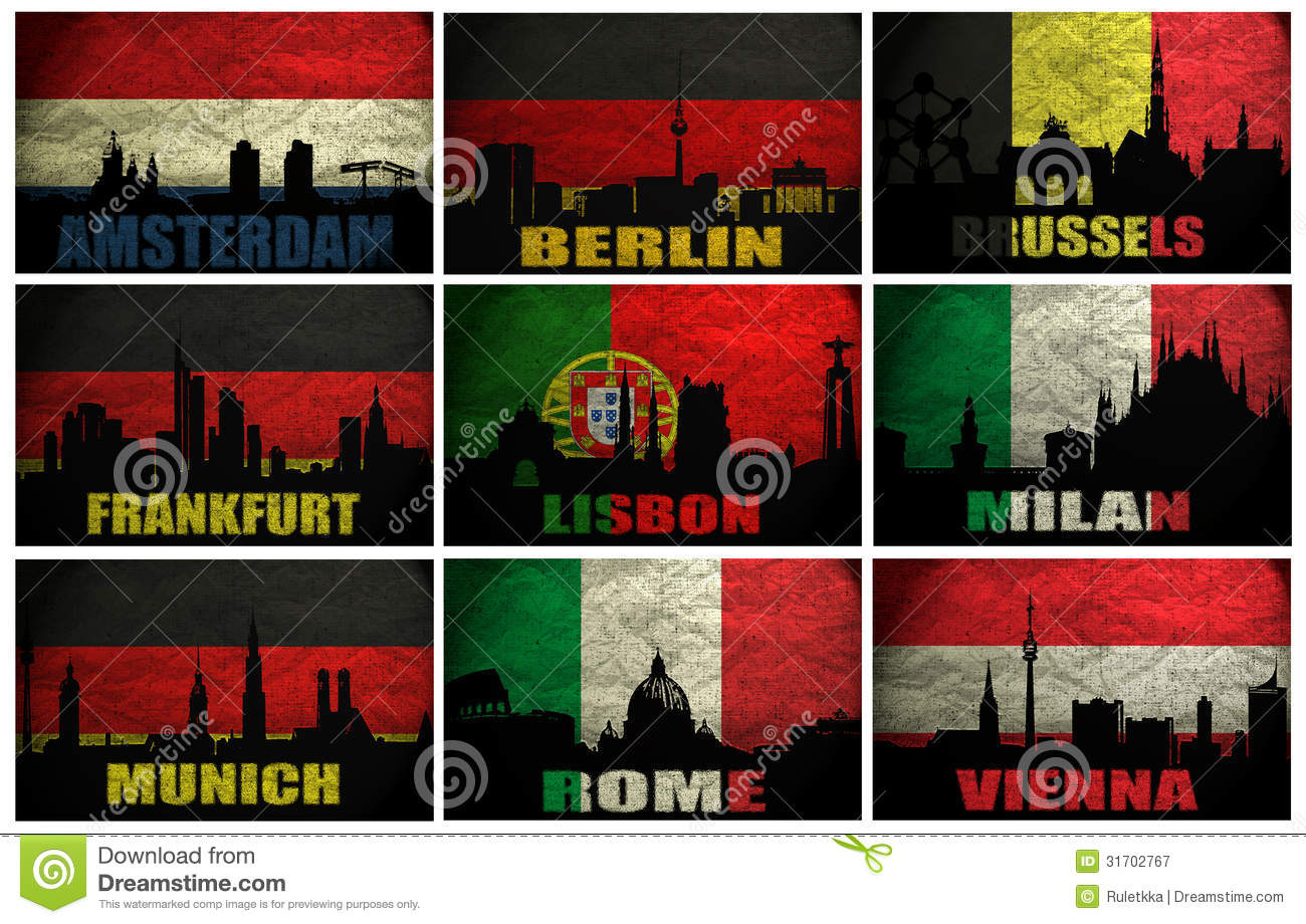 Collage Of Famous Western Europe Cities Royalty Free Stock Photography ...