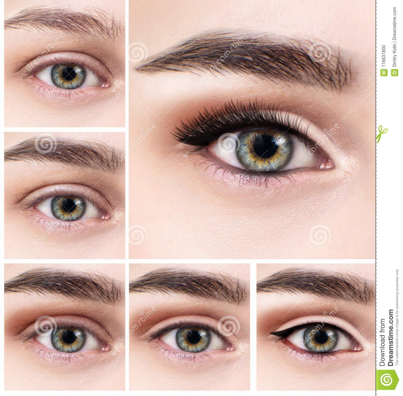 Collage Of Female Eye With Makeup Steps Stock Photo