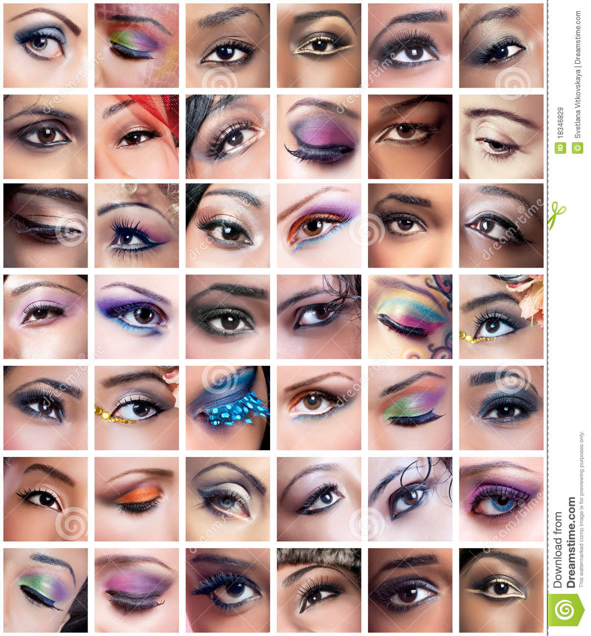 collage of female eyes images with creative makeup royalty
