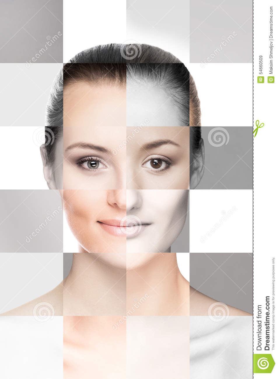 Collage Of Female Faces In Makeup Stock Photo