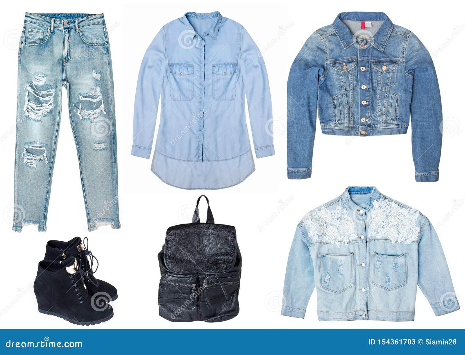 Collage femelle avec des vêtements de jeans d isolement sur le fond blanc