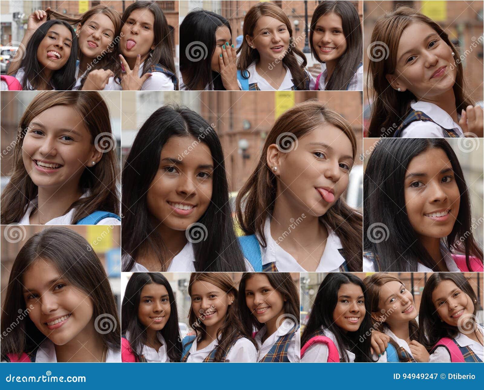 Collage femelle d étudiants de lycée