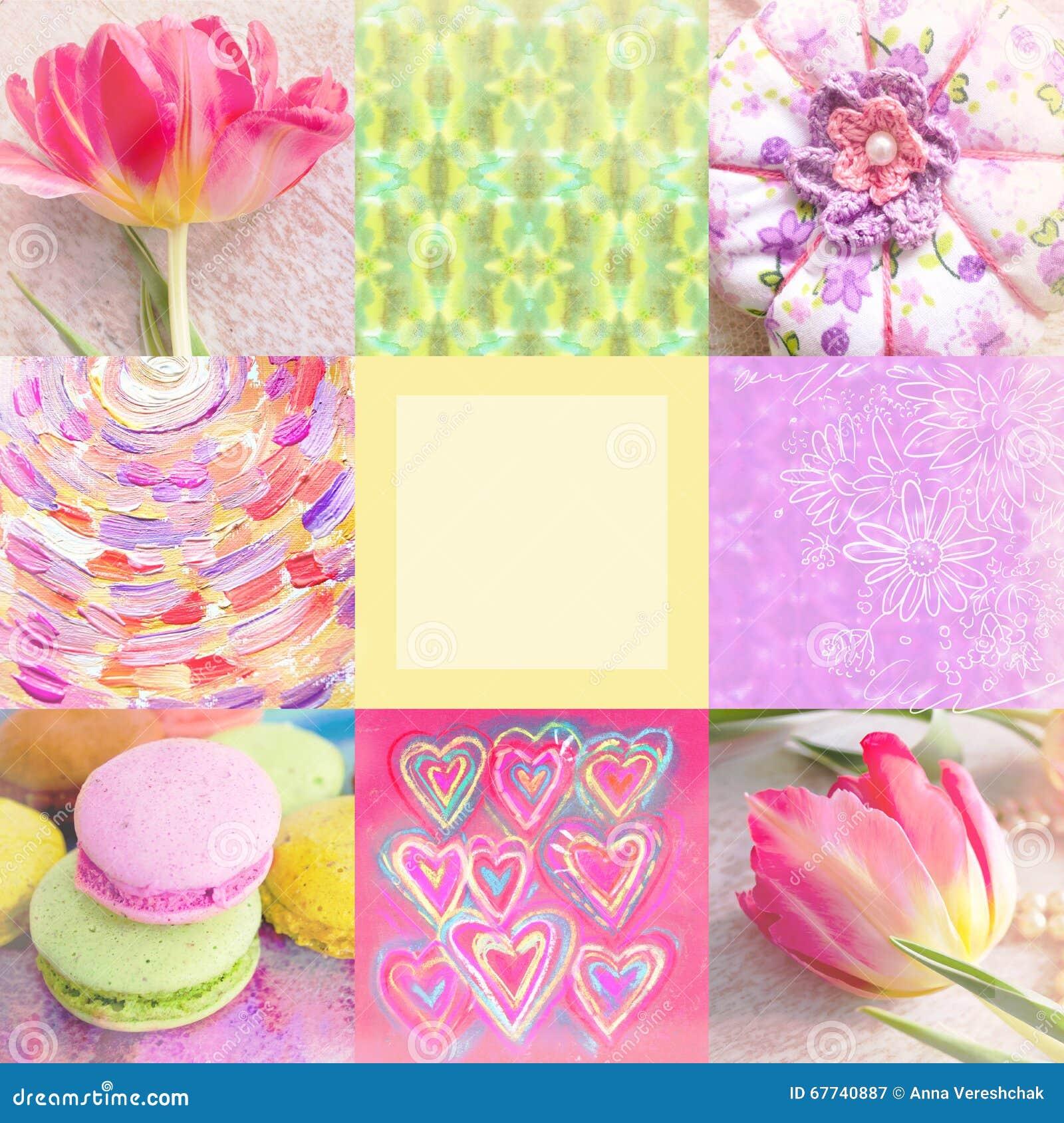 Collage Festivo Con El Tulipan Las Flores Pintadas A Mano El