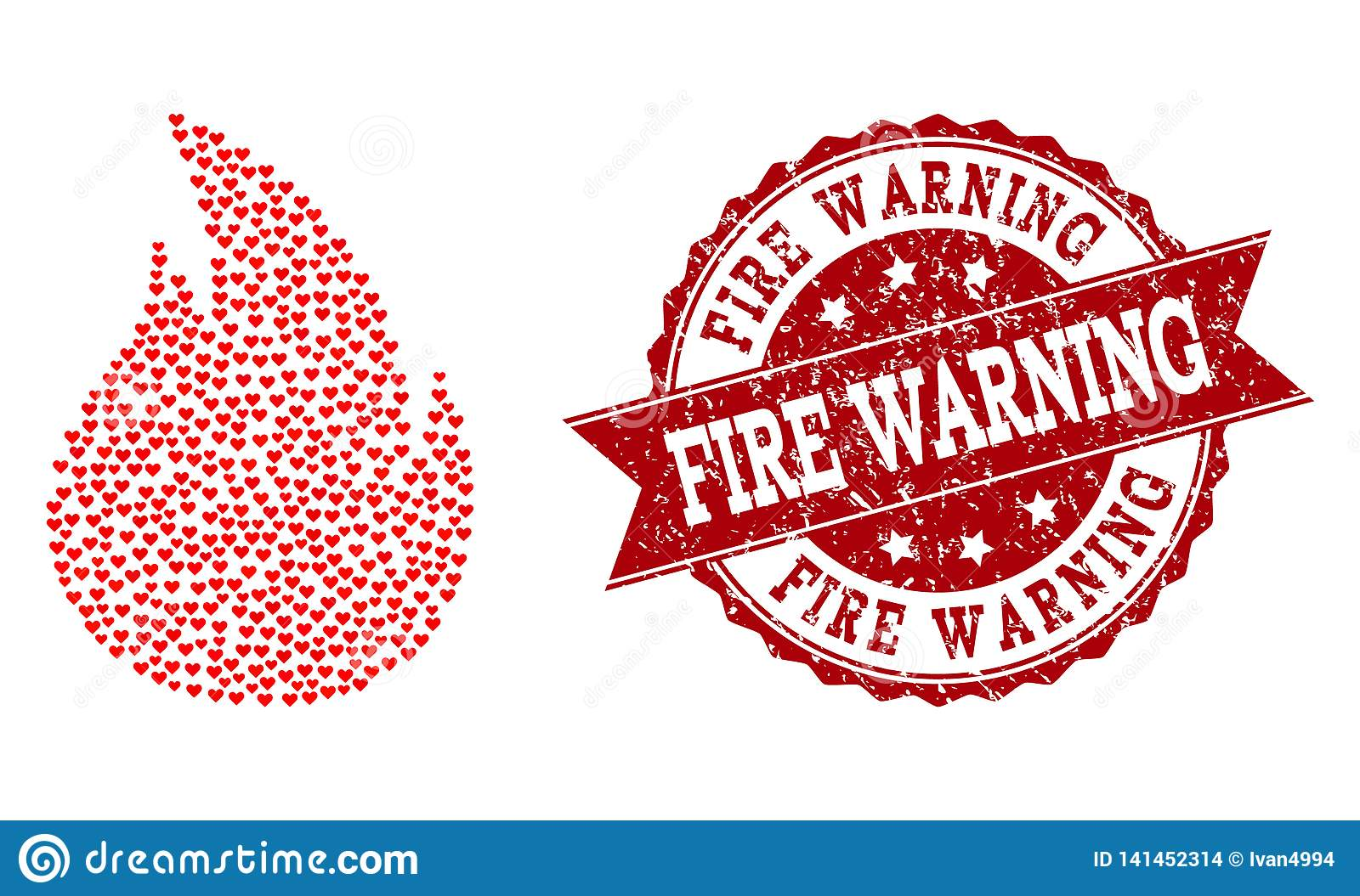 Valentine Heart Composition of Fire Icon and Grunge Watermark