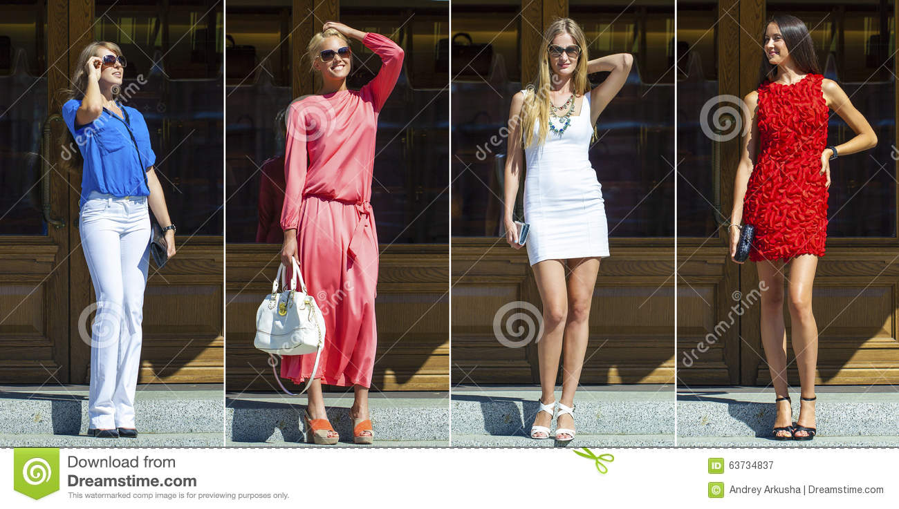 collage four women street fashion stock photo   image