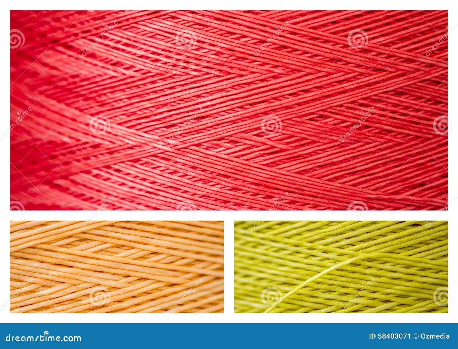 Collage från slut ups av syntetiska färgrika trådar