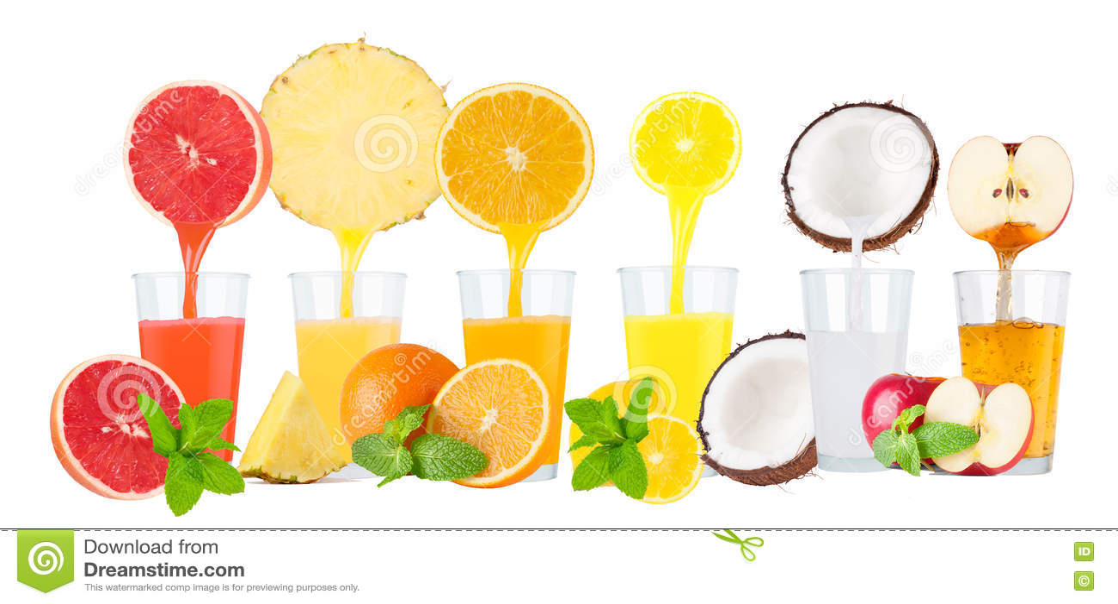 collage of fresh fruit juices on white background stock photo