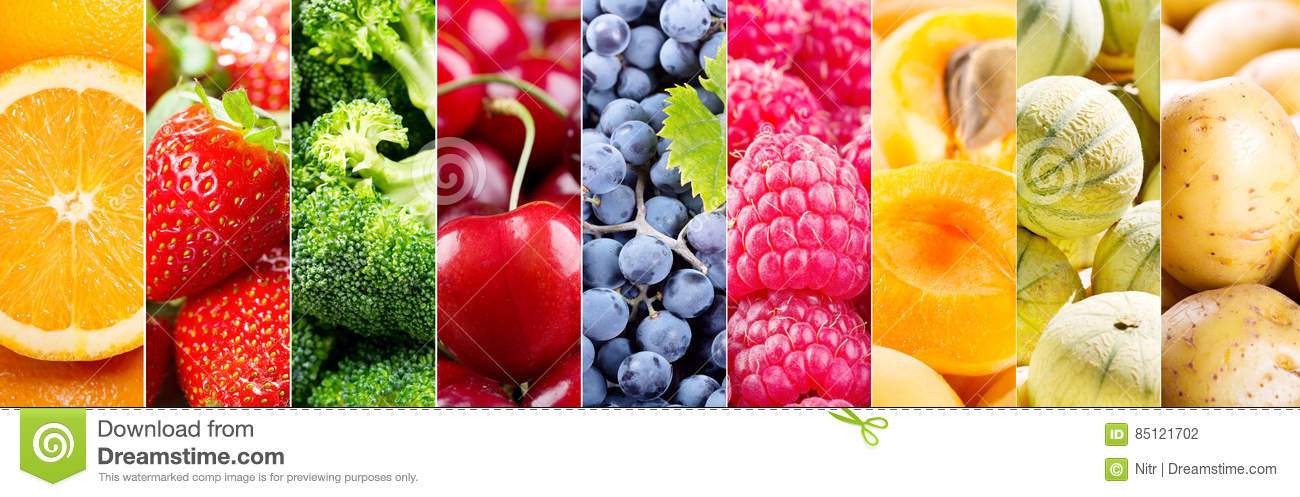 Collage Of Fresh Fruits And Vegetables Stock Photo - Image ...