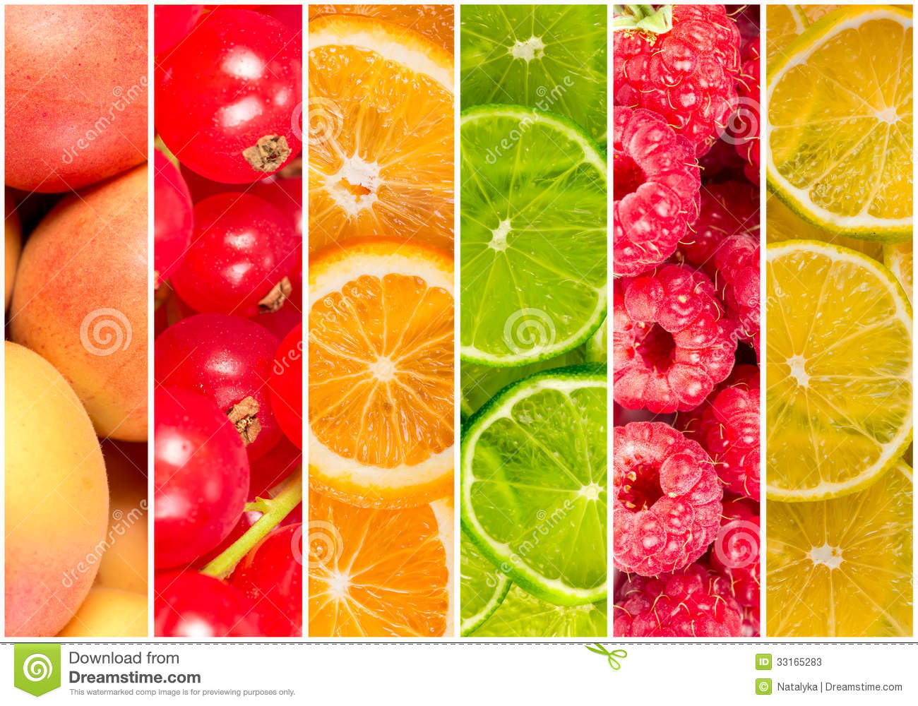 Collage of fresh summer fruit in the form of vertical stripes.