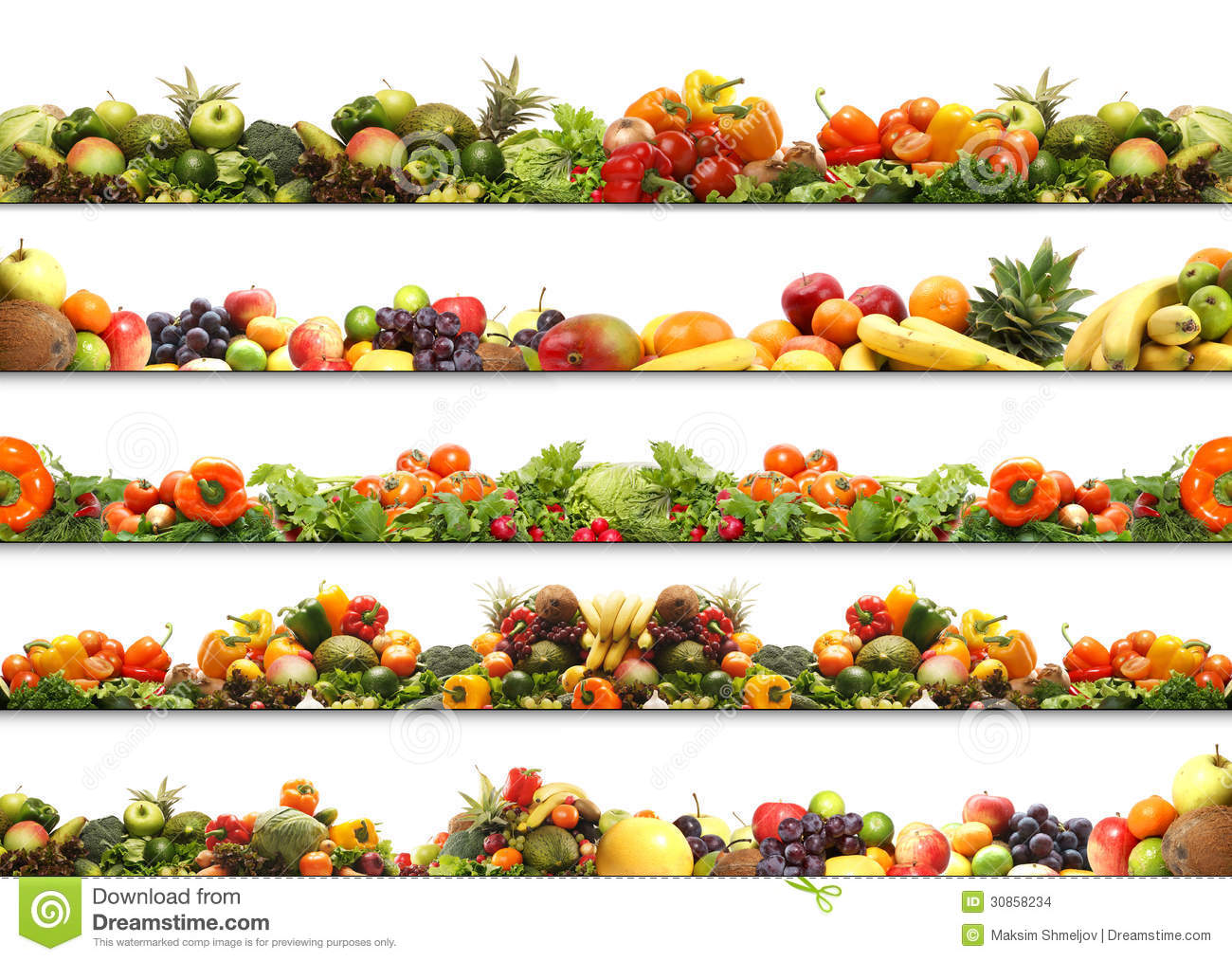 A collage of fresh and tasty fruits and vegetables