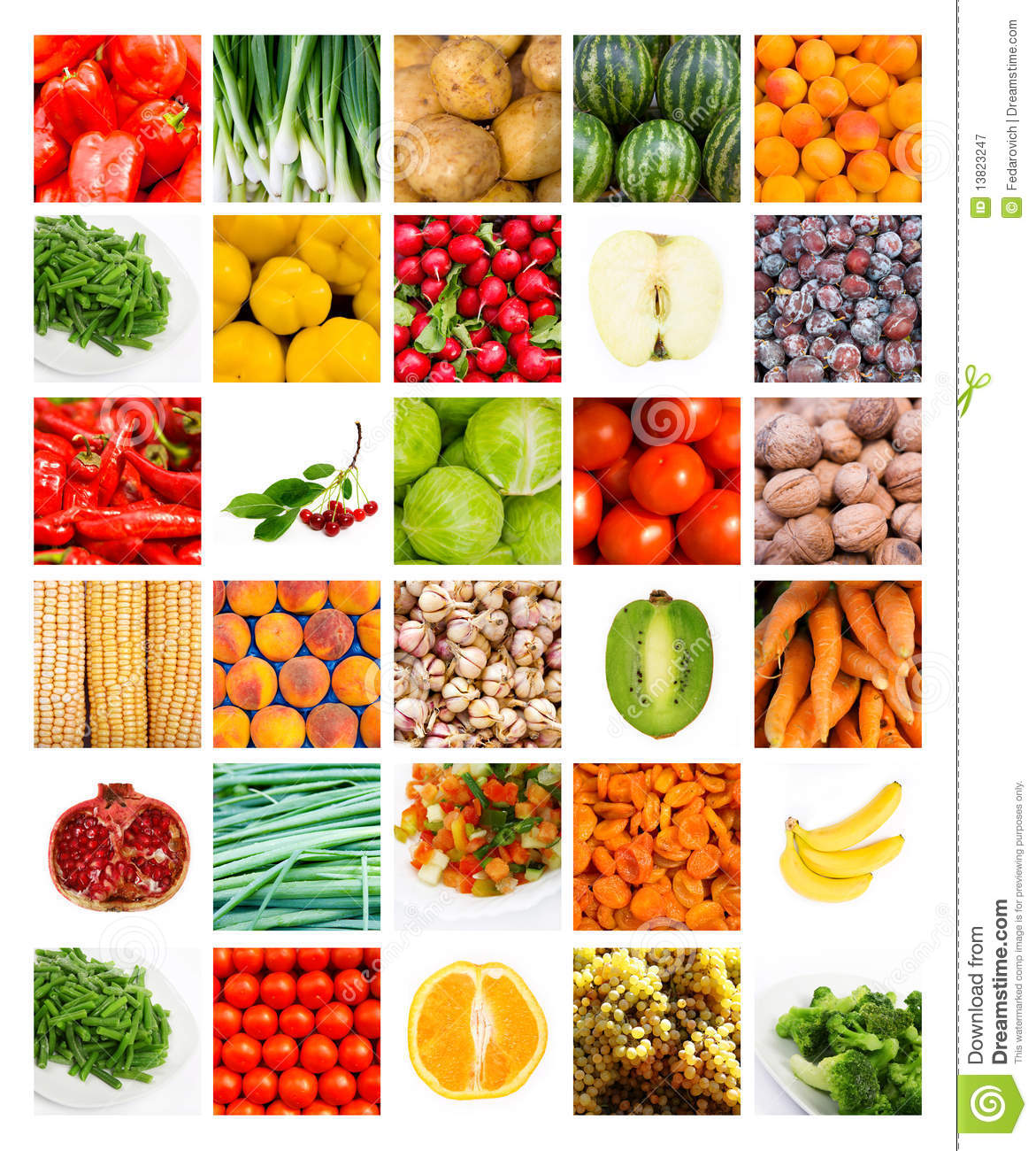 Bon Collage Of The Many Summer Vegetables And Fruits.