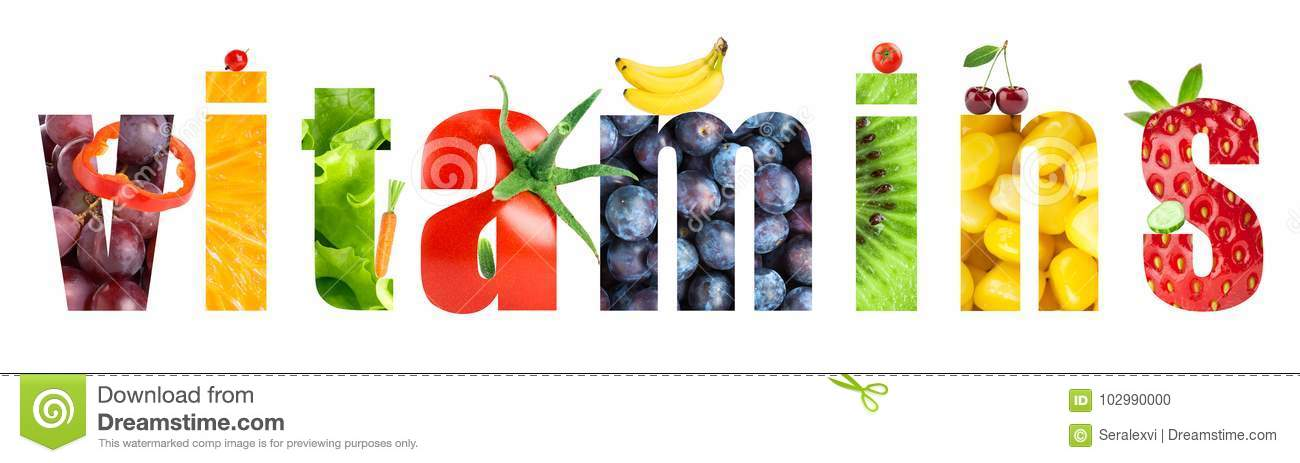 Collage of fruits and vegetables. Vitamins