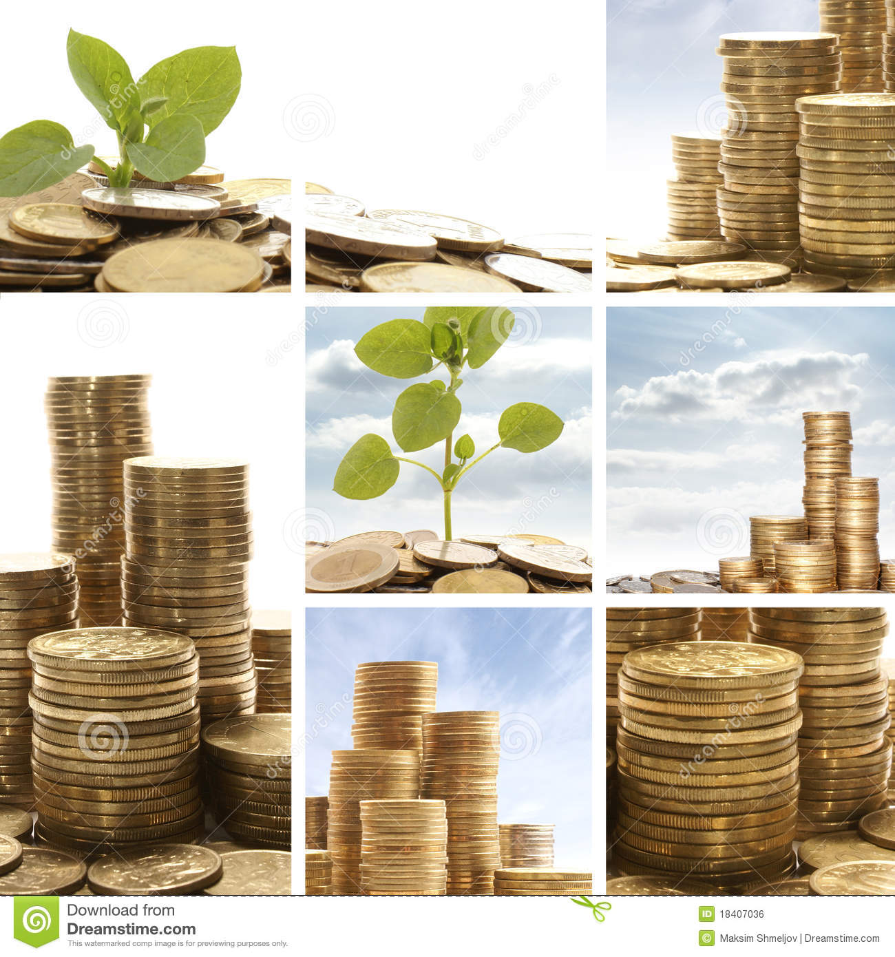 A Collage Of Golden Coins And Green Leaves Stock Photo Image Of Currency Green 18407036