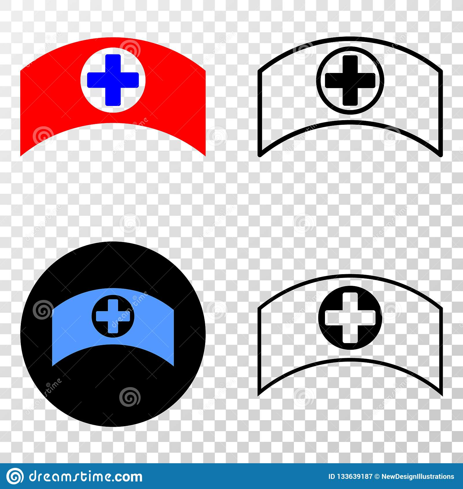 Collage of Gradiented Dotted Medical Cap and Grunged Stamp