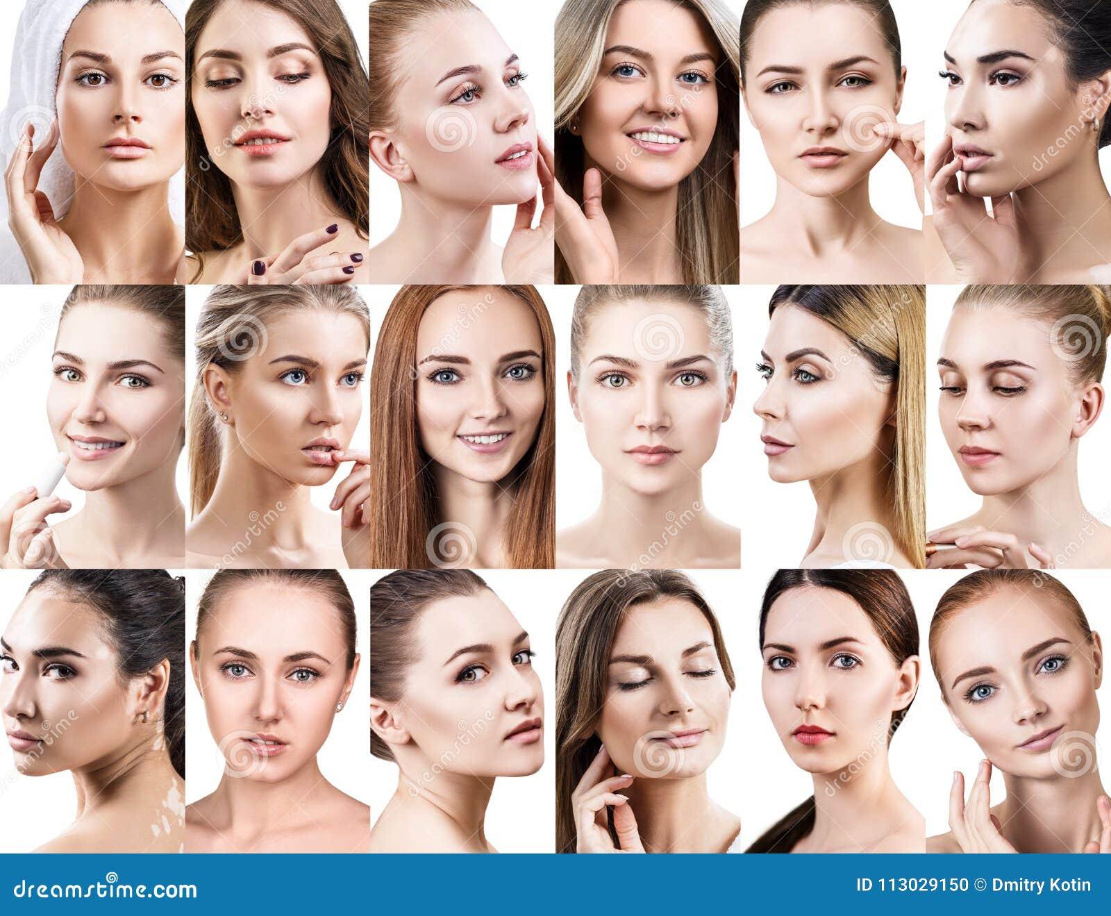 Collage grande de diversas mujeres hermosas