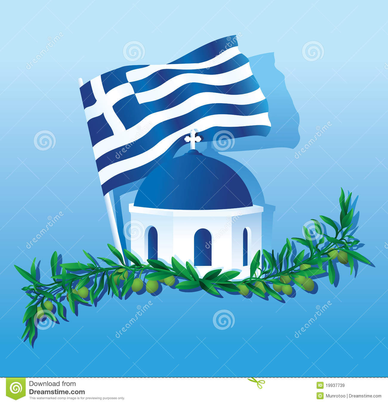 collage of greece flag church dome amp olive branch stock