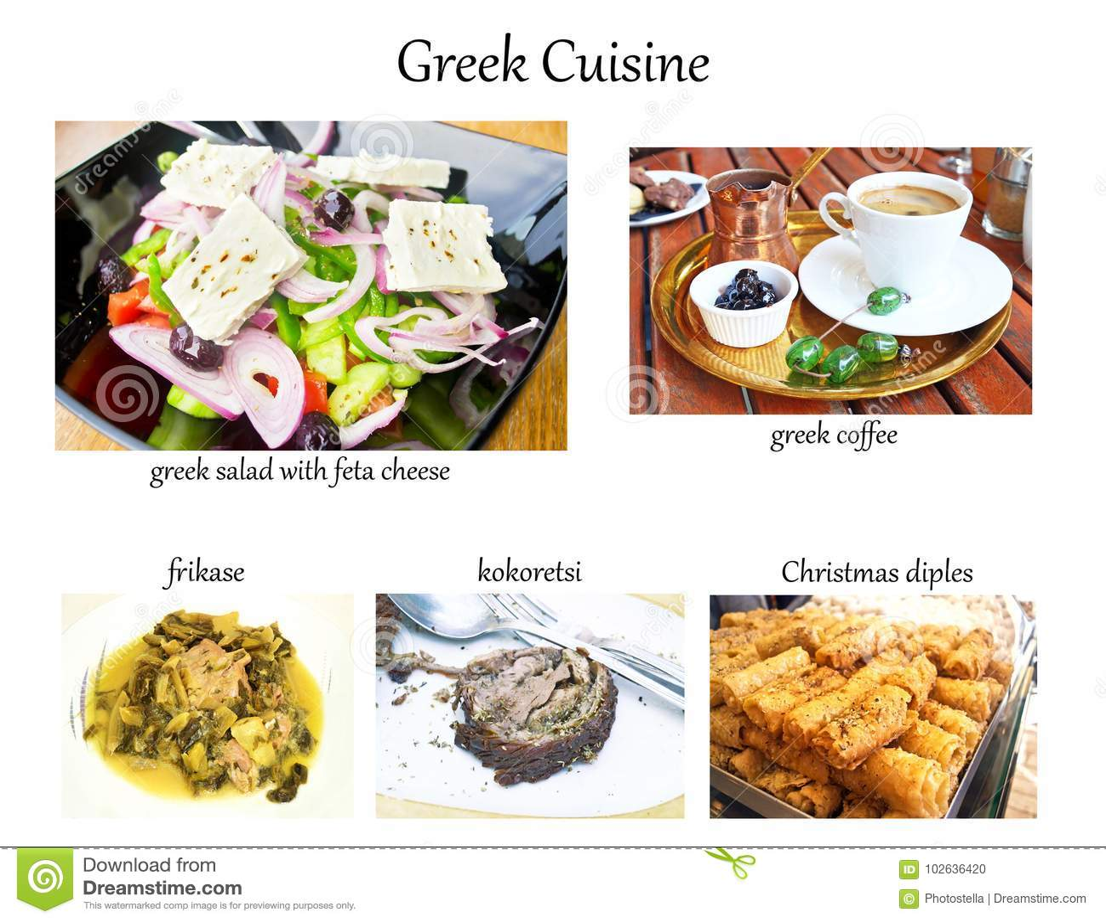 Collage with greek cuisine - coffee, salad, frikase, kokoretsi, christmas diples