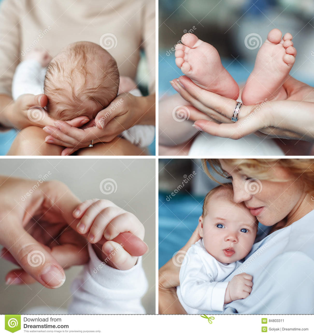 A collage of four photos of the mother and newborn childthe mother supports the babys head resting on her lapmother holding her son in her armsa small