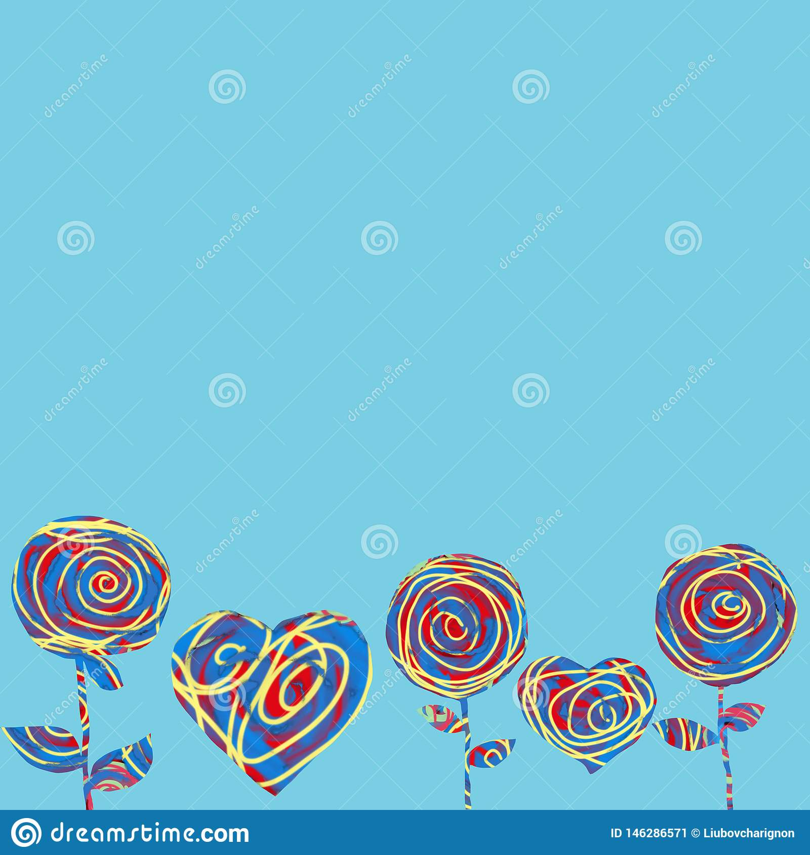 Collage hearts and flowers on a blue background. Abstract Greeting card for Valentine's Day.