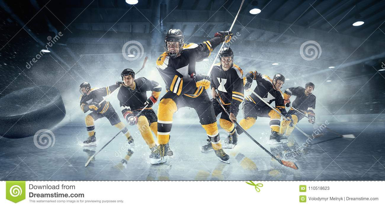 Collage about ice hockey players in action.