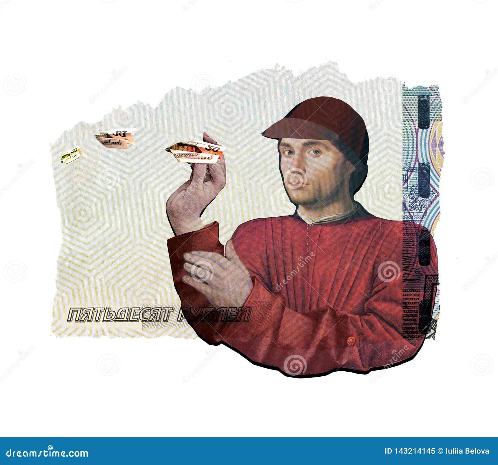 Collage illustratif Un jeune homme manque, lance des avions d argent Dans la perspective d un collage de diff?rent