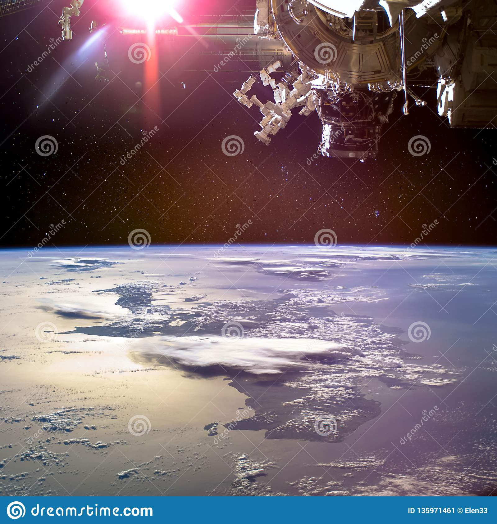 Collage image with planet Earth from the outer space and spaceship above.
