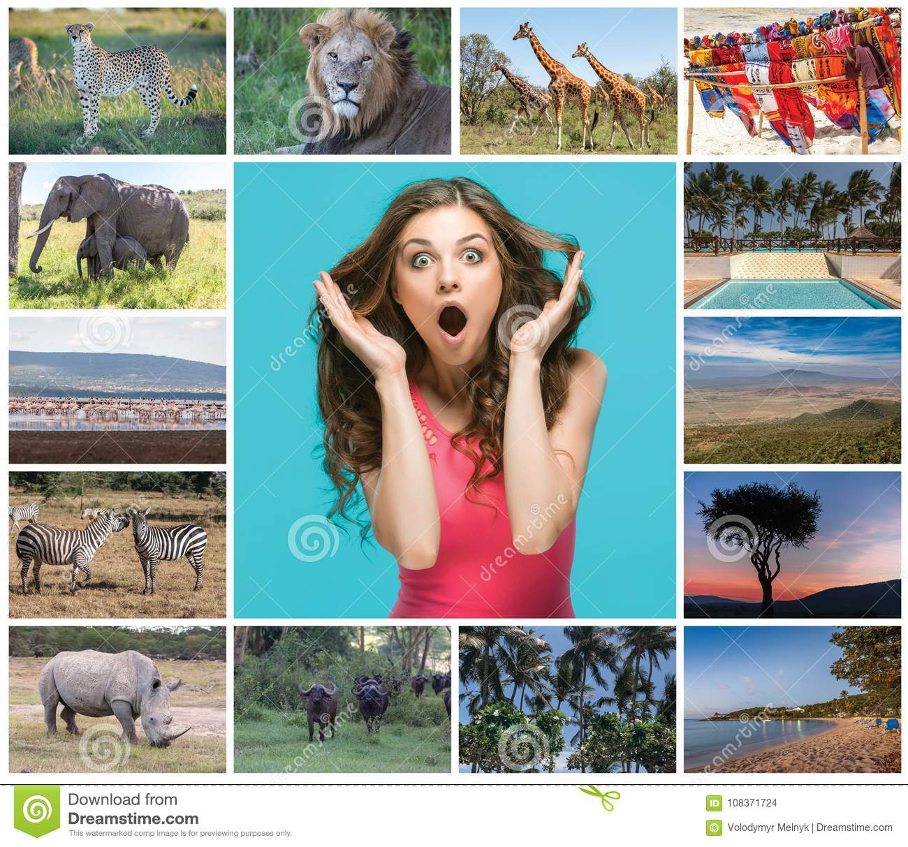 Collage from images of wildlife and beautiful views of the Kenya