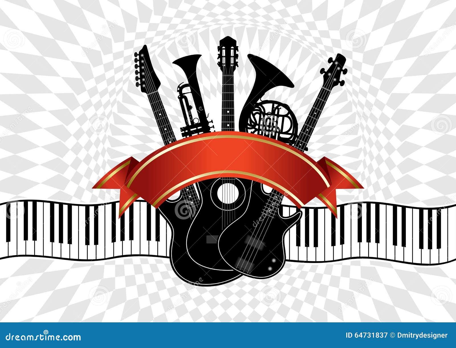Instrumentos Musicales En Un Fondo Abstracto