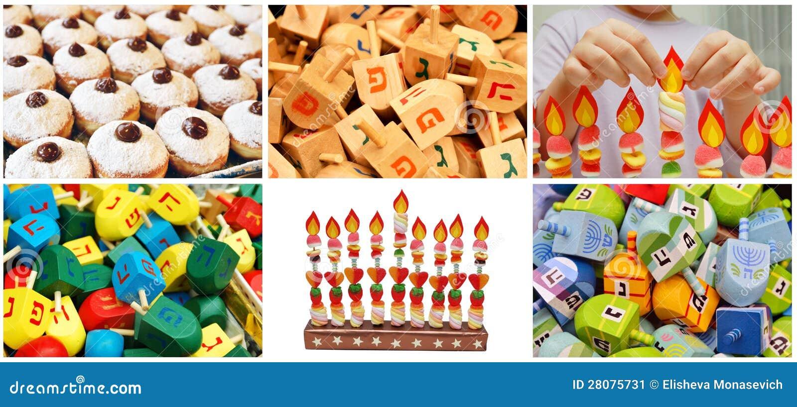 Collage judío de Jánuca hecho a partir de seis imágenes