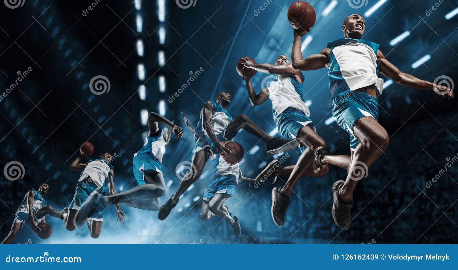 Collage Jugador de básquet en arena profesional grande durante el juego Jugador de básquet que hace clavada