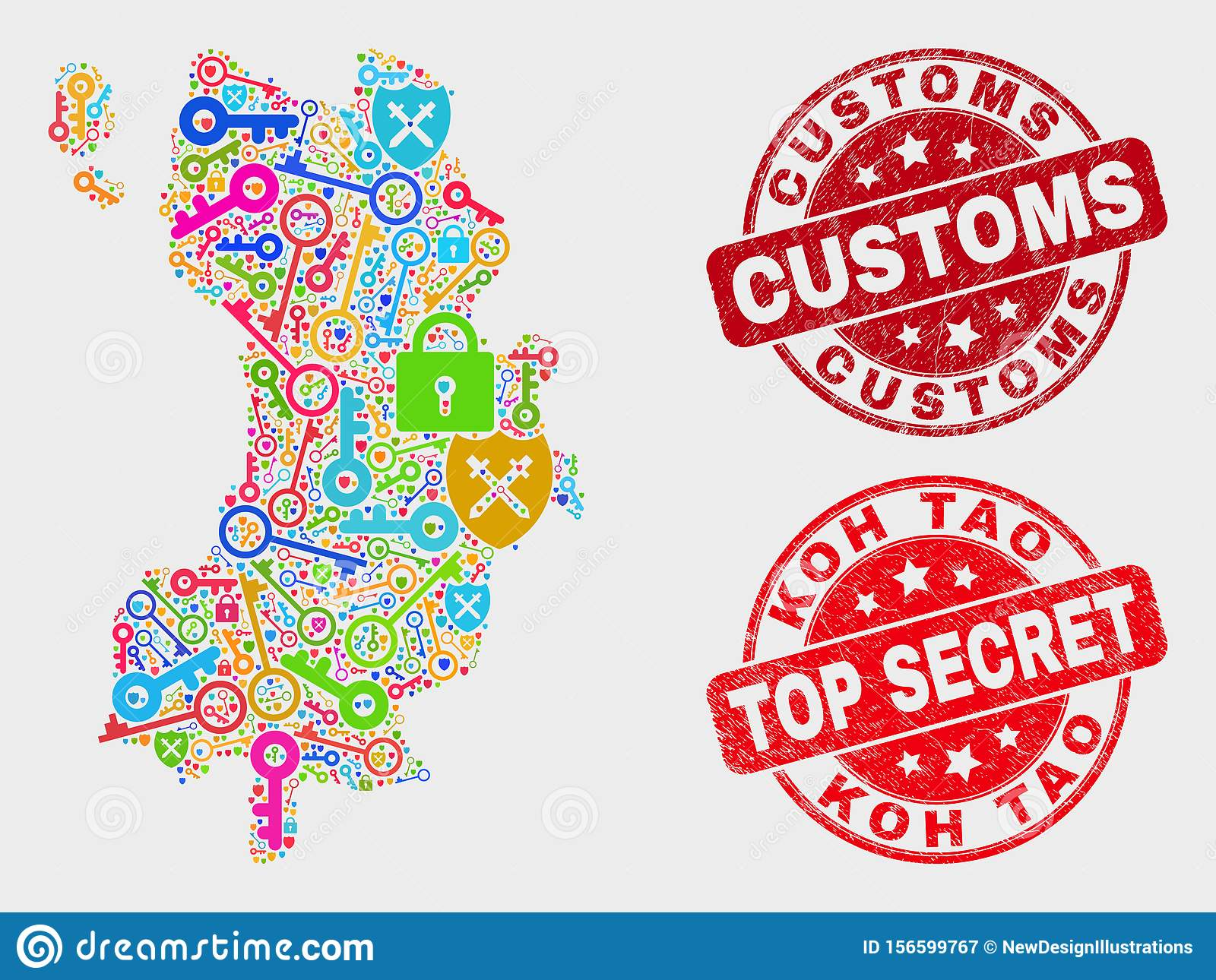 Collage Of Key Koh Tao Map And Grunge Customs Watermark Stock Vector Illustration Of Imprint Grunge 156599767