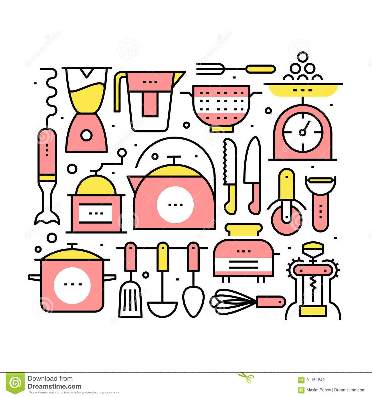 Uncategorized Kitchen Utensils And Appliances collage with kitchen utensils and appliances stock vector image appliances