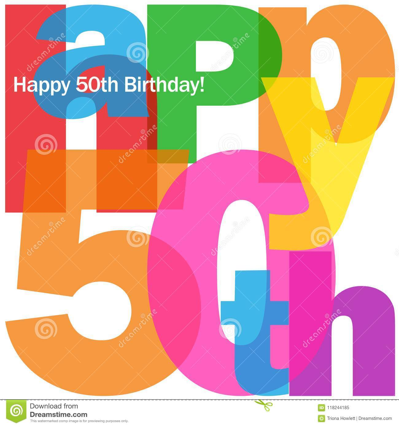 HAPPY 50th BIRTHDAY Colorful Letters Collage Card Stock Illustration ...