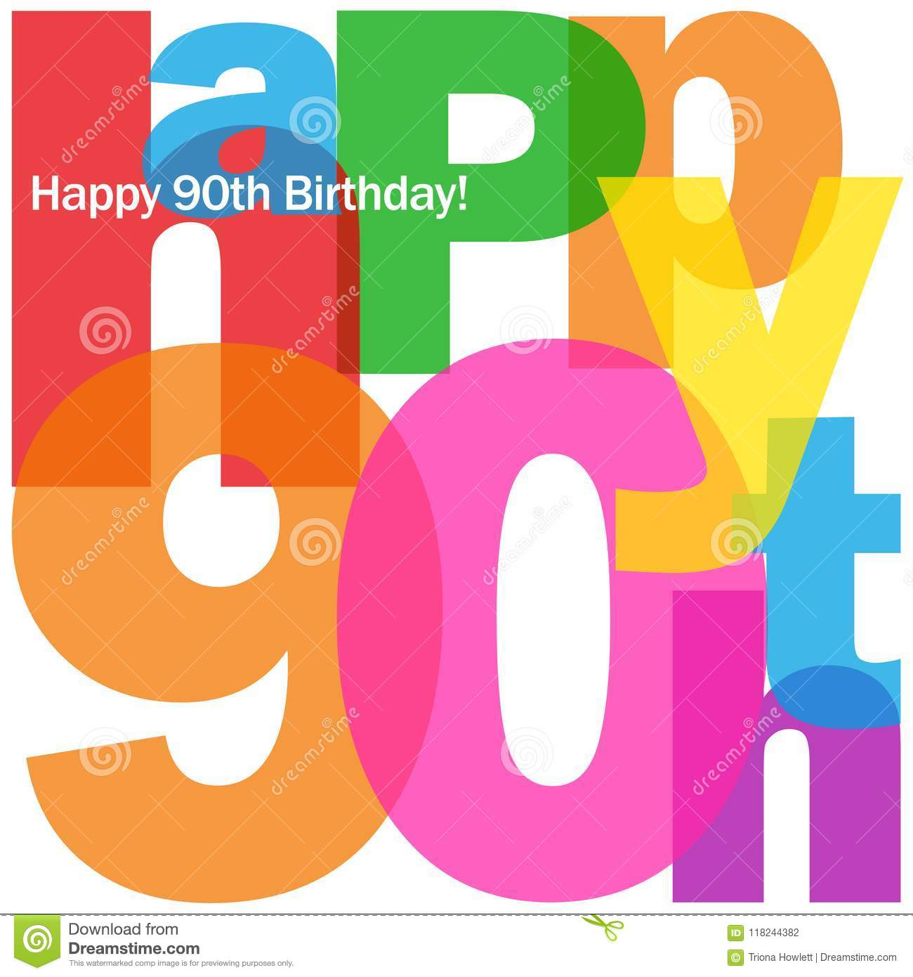 HAPPY 90th BIRTHDAY Colorful Letters Collage Card