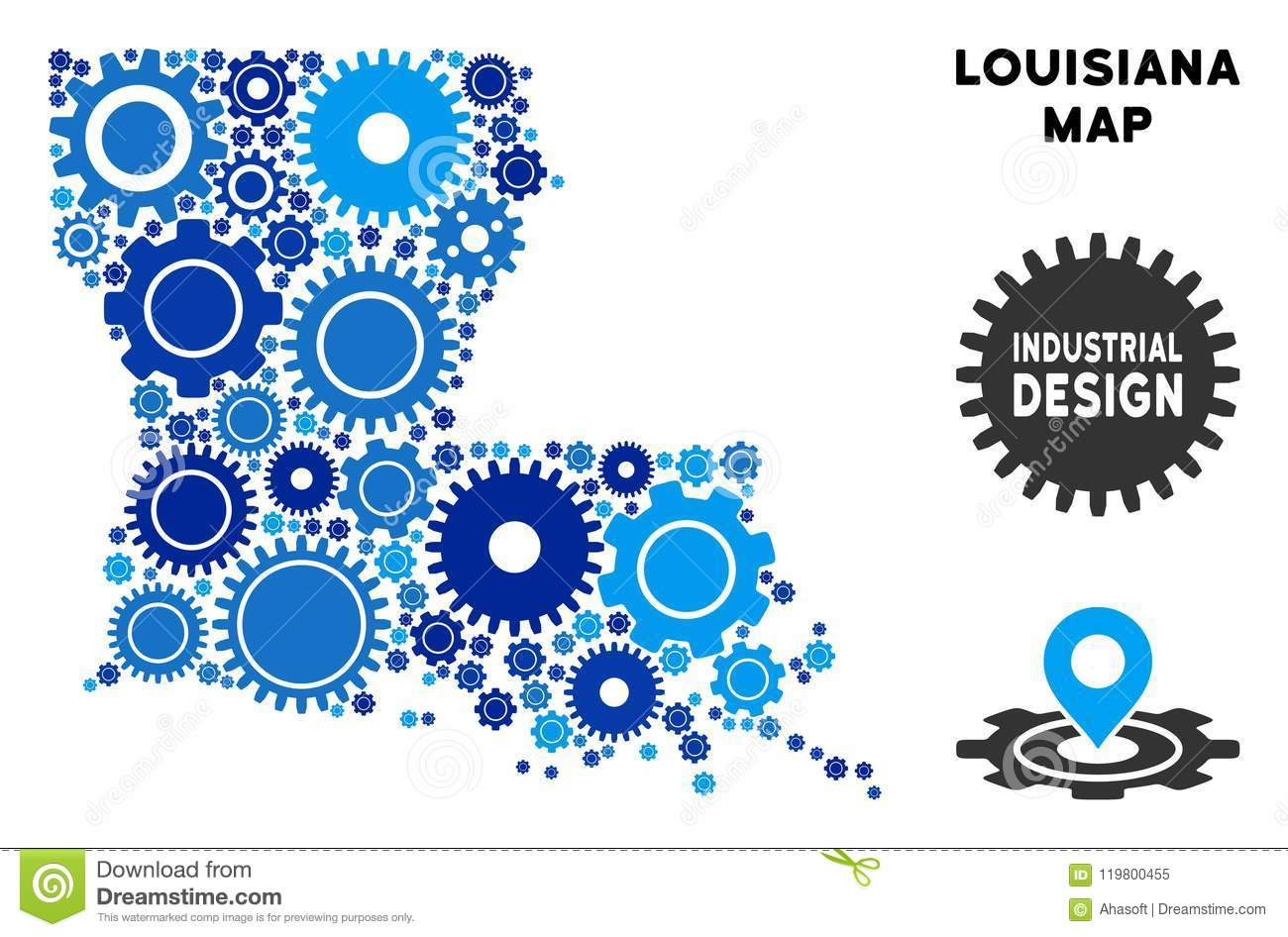 Geographic Map Of Louisiana.Collage Louisiana State Map Of Gears Stock Vector Illustration Of