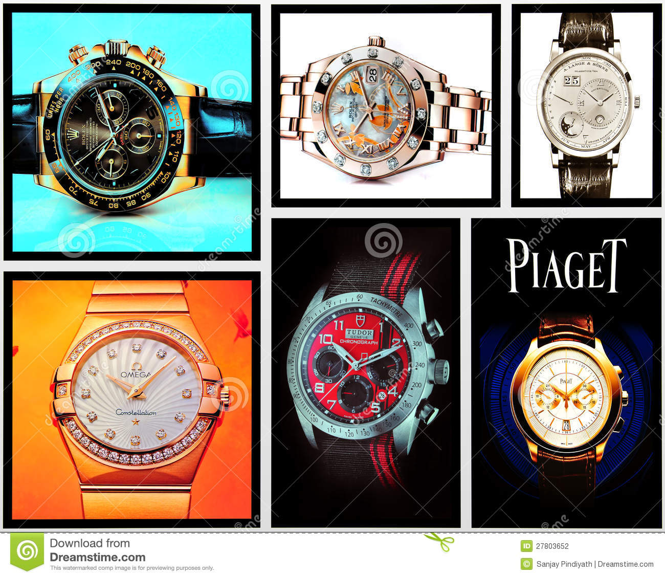 Collage of luxury watches