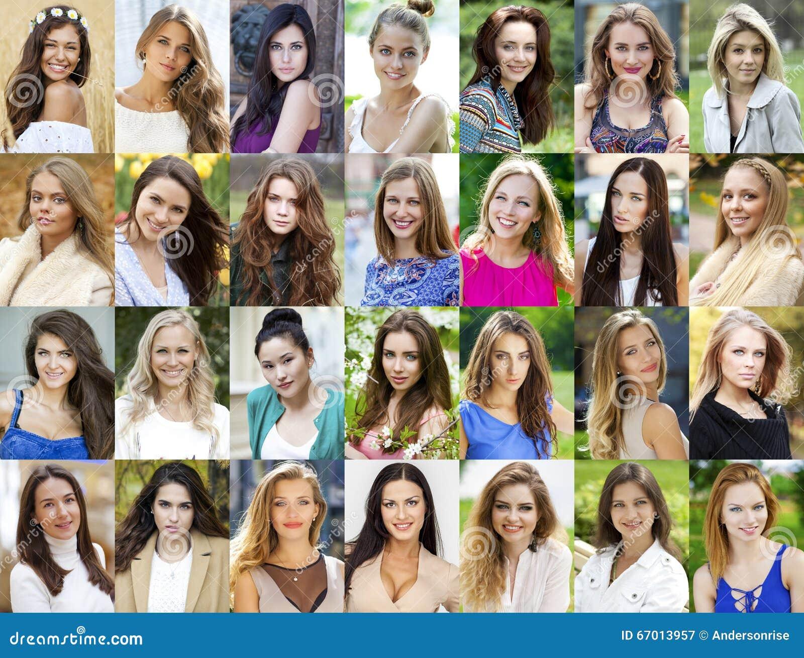 Collage lyckliga unga kvinnor