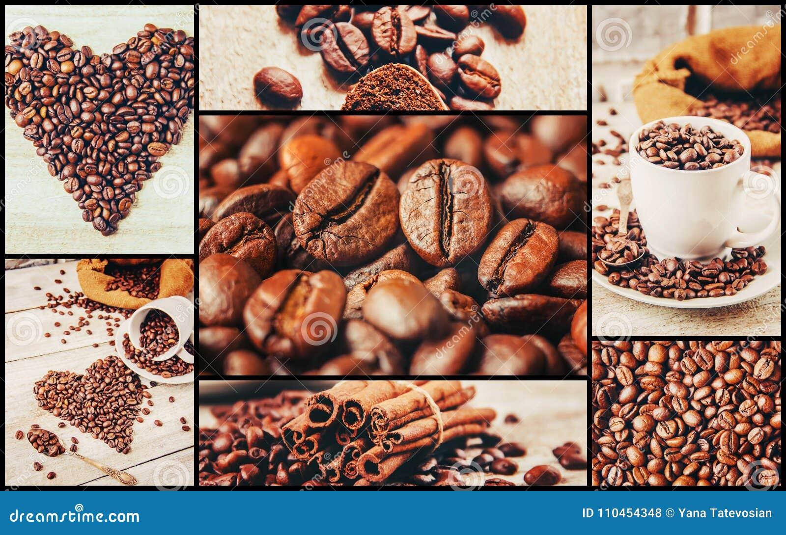Collage många bilder av kaffe